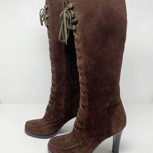 Lauren Ralph Lauren Tall Lace Up Brown Suede Boots